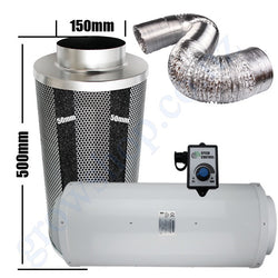 Kit Carbon Filter 150mm x 500mm, 10 Metre Ducting & Silenced 150mm EC Fan speed adjustable