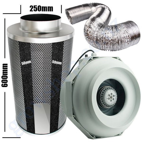 Kit Carbon Filter 250mm x 600mm, 10 Metre Ducting & 250mm Centrifugal Plastic RKW Temp & Speed adjustable