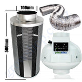 Kit Carbon Filter 100mm x 500mm, 10 Metre Ducting &  PK100TC 100mm Centrifugal Temp & Speed