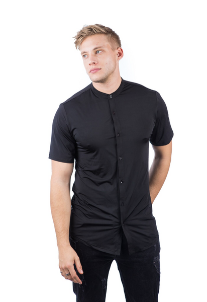 Beautique Designs Kabir Men's Baseball Cut Shirt Black