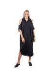 Beautique Designs Nira Button Up Shoulder Cut Out Dress Black