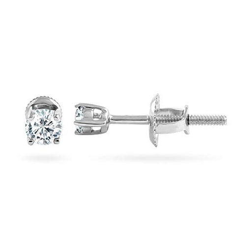 14k White Gold Round 0.10 Cttw Diamond Solitaire Stud Earrings For Women (0.10 Cttw, I-J Color, I2-I3 Clarity) 4 Prong, Screw-Back Clasps Diamond Solitaire Studs