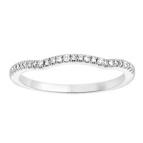 EternalDia 10k Gold 0.08 CT Diamond Accent Curved Stackable Wedding/Anniversary Band Ring - White - EternalDia