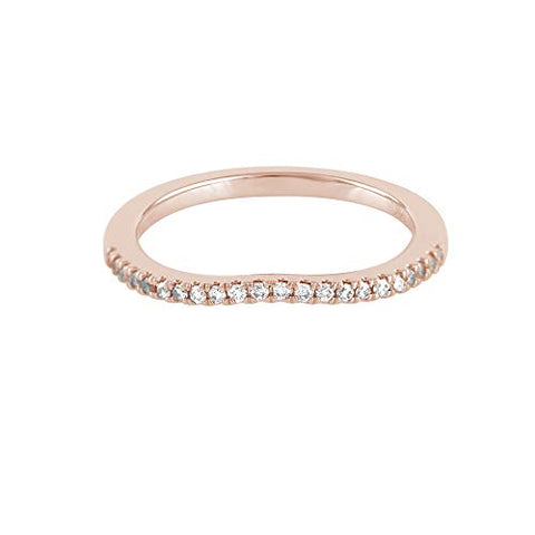 14K Rose Gold 0.13 Cttw Diamond Curved Ring (0.13 Cttw, I-J Color, I2-I3 Clarity) Curved Band Ring | Wedding Guard Band Ring Stackable Band Contour Guard Ring Half Eternity Ring