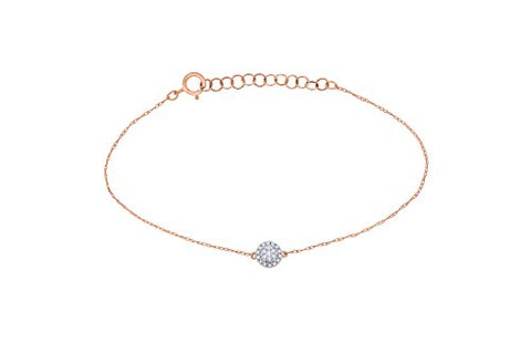 EternalDia IGI Certified 10k Rose Gold Round Natural Diamond Halo Frame Extendable Fashion Bracelet (0.1 Cttw) - EternalDia
