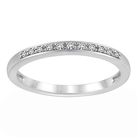 Solid 10K White Gold 1/20 Cttw Diamond Half Eternity Ring for Women (0.05 Cttw, I Color, I3 Clarity) Diamond Stackable Ring Wedding Band Ring | Eternity Band Ring