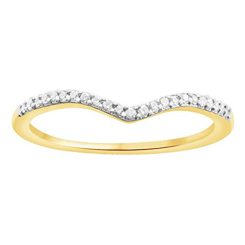 EternalDia Round Cut 0.08 ct White Natural Diamond V Shape Half Eternity Band Ring In 10k Solid Gold - EternalDia