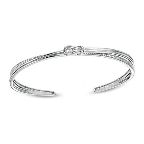 1/5 Cttw Round Cut White Natural Diamond Knot Cuff In 14k White Gold Over Sterling Silver