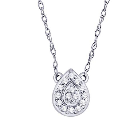 EternalDia IGI Certified Pear Drop Shape Halo Diamond Accent Frame Pendant Necklace in 10kt White Gold (0.06 Cttw) - EternalDia