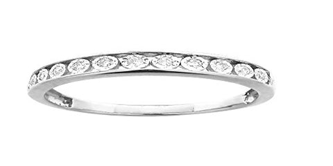 EternalDia 0.10 cttw Round Diamond Ladies Anniversary Wedding Band Ring in 10k Gold (IJ/I2-I3) US7 - EternalDia
