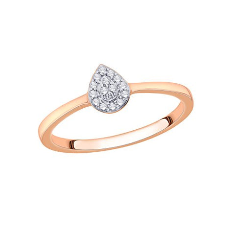 EternalDia IGI Certified Diamond Accent Pear Cluster Halo Frame Ring in 10K Rose Gold (0.07 Cttw) - EternalDia