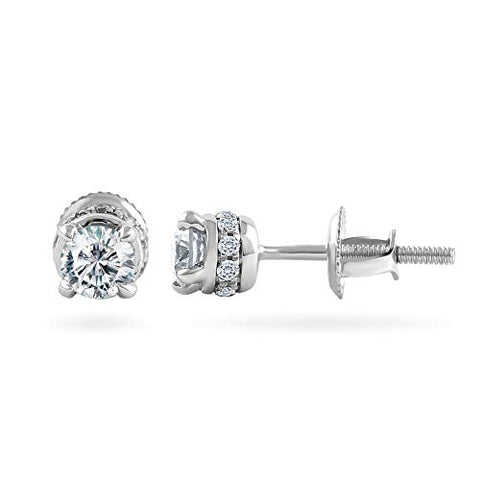 0.25 Carat Round Diamond Stud Earrings For Women in 14k White Gold (0.25 Cttw, I-J Color, I2-I3 Clarity) 4 Prong, Screw-Back Clasps Diamond Solitaire Studs