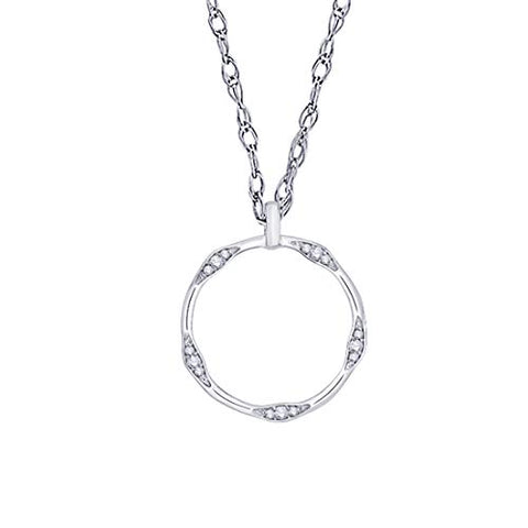 EternalDia IGI Certified Open-Circle Diamond Accent Accented Pendant Necklace in 10K White Gold (0.07 Cttw) - EternalDia