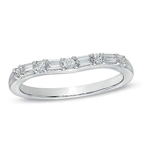 1/4 Cttw Baguette and Round Diamond Alternating Contour Wedding Band in 14K Solid White Gold (0.25 Cttw,I-J Color, I1-I2 Clarity) Diamond Half Eternity Ring Eternity Wedding Band Ring