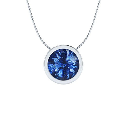 EternalDia 2 Ct Sapphire Solitaire Pendant Necklace Bezel Set With Chain 14K White Gold Over Sterling Silver - EternalDia