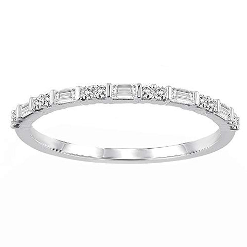 10K White Gold Baguette & Round 1/5 Cttw Diamond Half Eternity Ring for Women (0.20 Cttw, H-I Color, I2 Clarity) Diamond Stackable Ring Wedding Band Ring | Eternity Band Ring