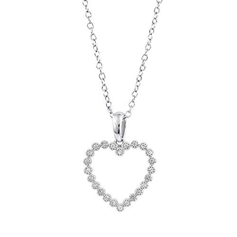 "0.10 cttw Diamond Heart Pendant Necklace for Womens in 14k White Gold with 18"" Cable Chain (0.10 cttw, I-J Color, I2-I3 Clarity) Diamond Open Heart Pendant Necklace"