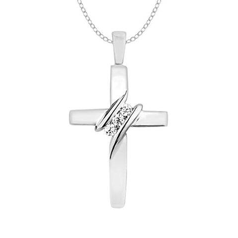 "EternalDia 10k Diamond Three-Stone Cross Pendant Necklace Religious Jewelry (0.05cttw, I-J/I2-I3) 18"" - EternalDia"
