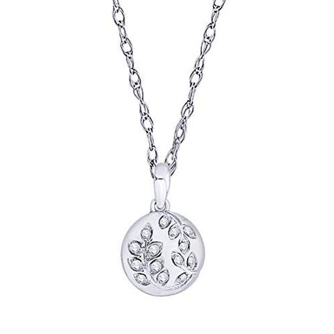 EternalDia IGI Certified Diamond Accent Vine Leaf Engraved Circle Disc Pendant Necklace in 10K White Gold (0.04 Ct) - EternalDia