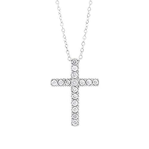"14k White Gold Round Cut 1/4 Cttw Diamond Cross Pendant Necklace (0.25 Cttw, I-J Color, I2-I3 Clarity) 18"" Religious Cross Pendant Necklace"
