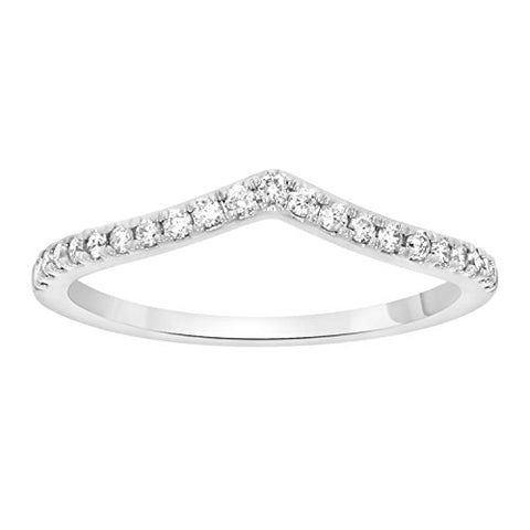 EternalDia Round Cut White Natural Diamond V Shape Half Eternity Band Ring In 10k Solid Gold (0.15 cttw) - EternalDia