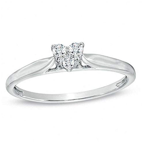 1/10 Cttw Diamond Heart Ring In 10K White Gold (0.10 cttw, I-J Color, I2 Clarity) Diamond Heart Promise Ring