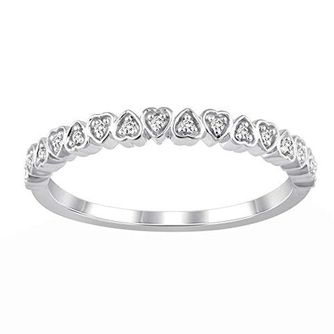 14K White Gold Eternity Heart Ring 0.06 Cttw Diamond Half Eternity Band Ring for Women (0.06 Cttw, I Color, I2 Clarity) Diamond Stackable Ring Wedding Band Ring | Eternity Band Ring