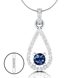 "EternalDia 1.52 Ct Blue Sapphire & Diamond 14K White Gold Over Sterling Silver 925 Drop Pendant Necklace, 18"" - EternalDia"