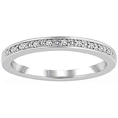 1/20 Carat Diamond Half Eternity Ring 10K White Gold (0.05 Cttw, I Color, I3 Clarity) Diamond Stackable Half Eternity Ring
