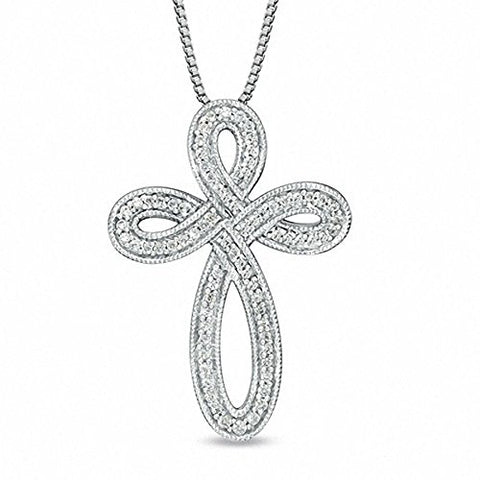 "EternalDia 1/4 Cttw Diamond Cross Pendant Necklace in 925 Silver (IJ/I2-I3) 18"" - EternalDia"