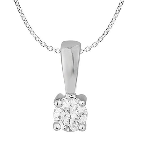 EternalDia 1/10 ct Round Diamond Pendant Necklace Solitaire 10k White Gold (0.10cttw, IJK,I2-I3) - EternalDia