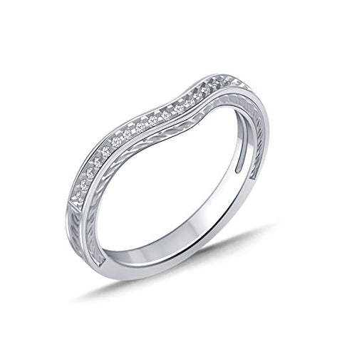 EternalDia 1/10 ct Diamond Half Eternity Enhancer Curved Wedding Band Ring Guard in 10k White Gold (IJ/I2I3) - EternalDia