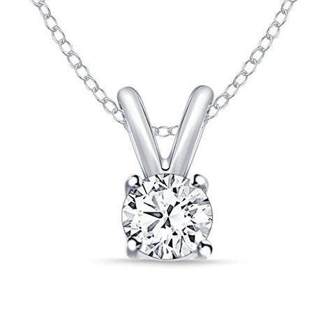 "EternalDia 1/4 ct Round Diamond Pendant Necklace 14k White Gold (0.25cttw, IJ,I2-I3) 18"" - EternalDia"