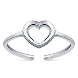 EternalDia 925 Sterling Silver Simulated D/VVS1 Diamond Heart Adjustable Toe Ring For Womens - EternalDia