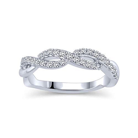 1/4 Cttw Diamond Swirl Band Ring 14K White Gold | Diamond Ladies Swirl Anniversary Wedding Band Stackable Ring | Diamond Twisted Ring (0.25 Cttw, H-I Color / I2 Clarity)