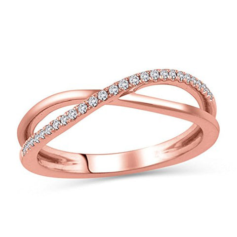 "1/10 Cttw Trendy Crisscross Diamond Accented""X"" Crossover Ring in 14K Rose Gold (HI/12)"