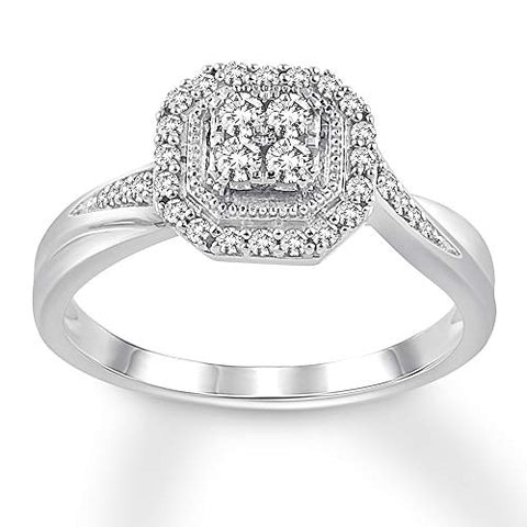 0.25 Cttw Round Diamond Hexagon Halo Engagement Ring In 10K Solid White Gold for Women (I/I3)