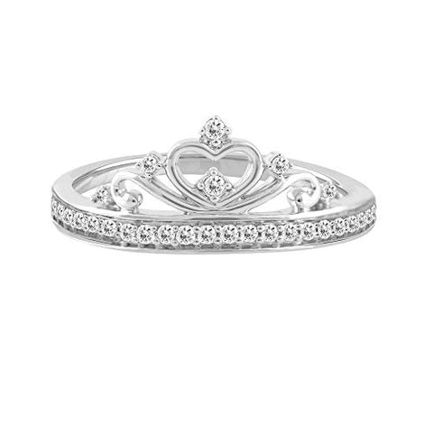 14k White Gold 0.16 Cttw Diamond Crown Ring (0.16 Cttw, I-J Color, I2-I3 Clarity) Princess Crown Ring For Women