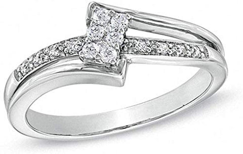1/7 Carat Round Diamond Bypass Ring In 14K White Gold Over 925 Sterling Silver (0.14 Cttw I-J Color I2-I3 Clarity) Bypass Engagement Ring