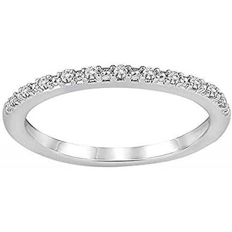 10K White Gold 1/20 Cttw Diamond Half Eternity Ring For Women (0.05 Cttw, I Color, I3 Clarity) Diamond Stackable Ring Wedding Band Ring