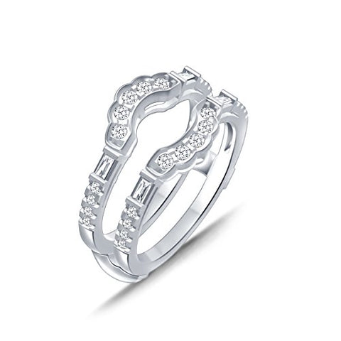 EternalDia 0.50 Cttw Diamond Double Row Cathedral Style Enhancer Ring Guard In 10k White Gold (IJ/I2I3) - EternalDia