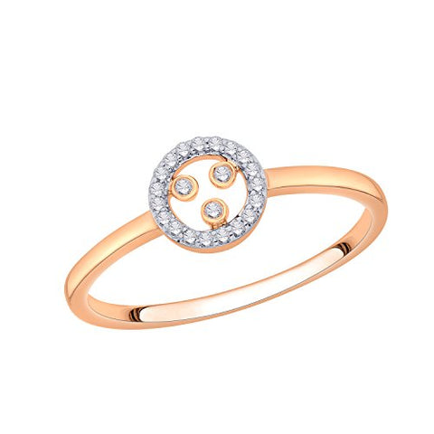 EternalDia IGI Certified Open-Circle Round Diamond Accent Fashion Ring in 10K Rose Gold (0.07 Cttw) - EternalDia