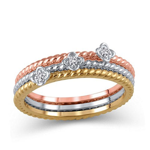 10K Tri-Tone Gold Diamond Accent Rope-Textured Flower Stackable Three Ring Set (IJ/12-13)