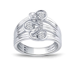 EternalDia 1/6 ct Love Knot Diamond Promise Ring in Sterling Silver(IJ/I2-I3) US4-US10 - EternalDia