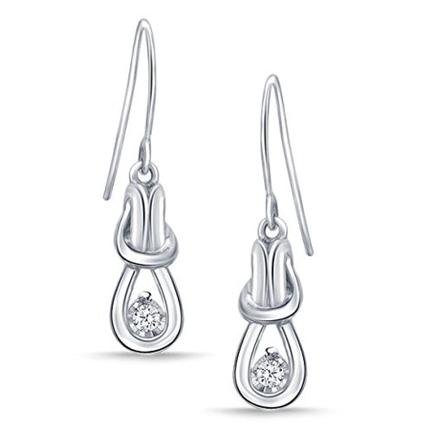 EternalDia 1/10 cttw Diamond Sterling Silver Love Knot Earrings for Women (IJ/I2-I3) - EternalDia