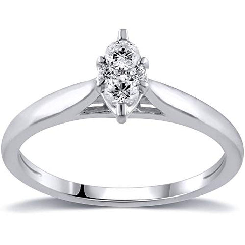 0.25 Cttw Diamond Marquise Solitaire Engagement Ring In 10k White Gold (I-J/I2)
