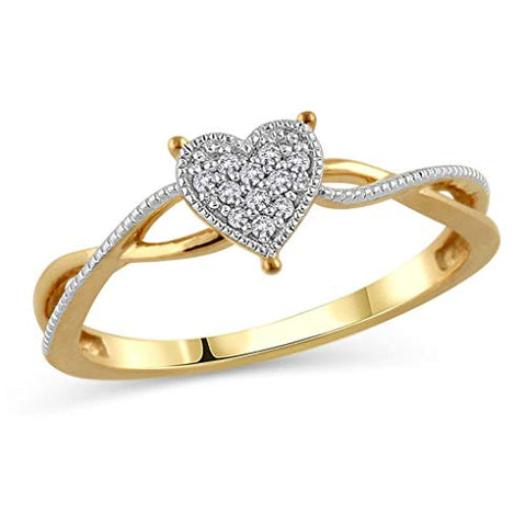 Round Cut White Natural Diamond Accent Heart Twist Promise Ring in 10K Two Tone Solid Gold (0.05 Cttw)