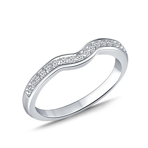 EternalDia 0.20cttw Diamond Curved Solitaire Enhancer Contour Band Guard Ring in 10K White Gold (IJ/12-13) - EternalDia