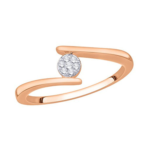 EternalDia IGI Certified Round Diamond Accent Flower Cluster Bypass Engagement Promise Ring 10K Yellow Gold (0.06 Cttw) - EternalDia