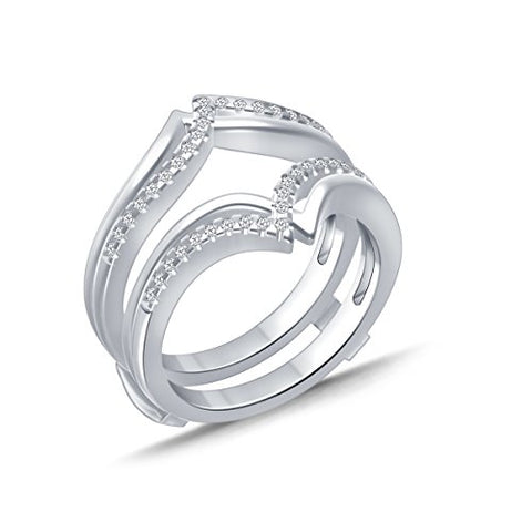 EternalDia 0.25 cttw V-Shape Diamond Contour Shape Enhancer Ring Guard In 10k White Gold (IJ/I2I3) - EternalDia